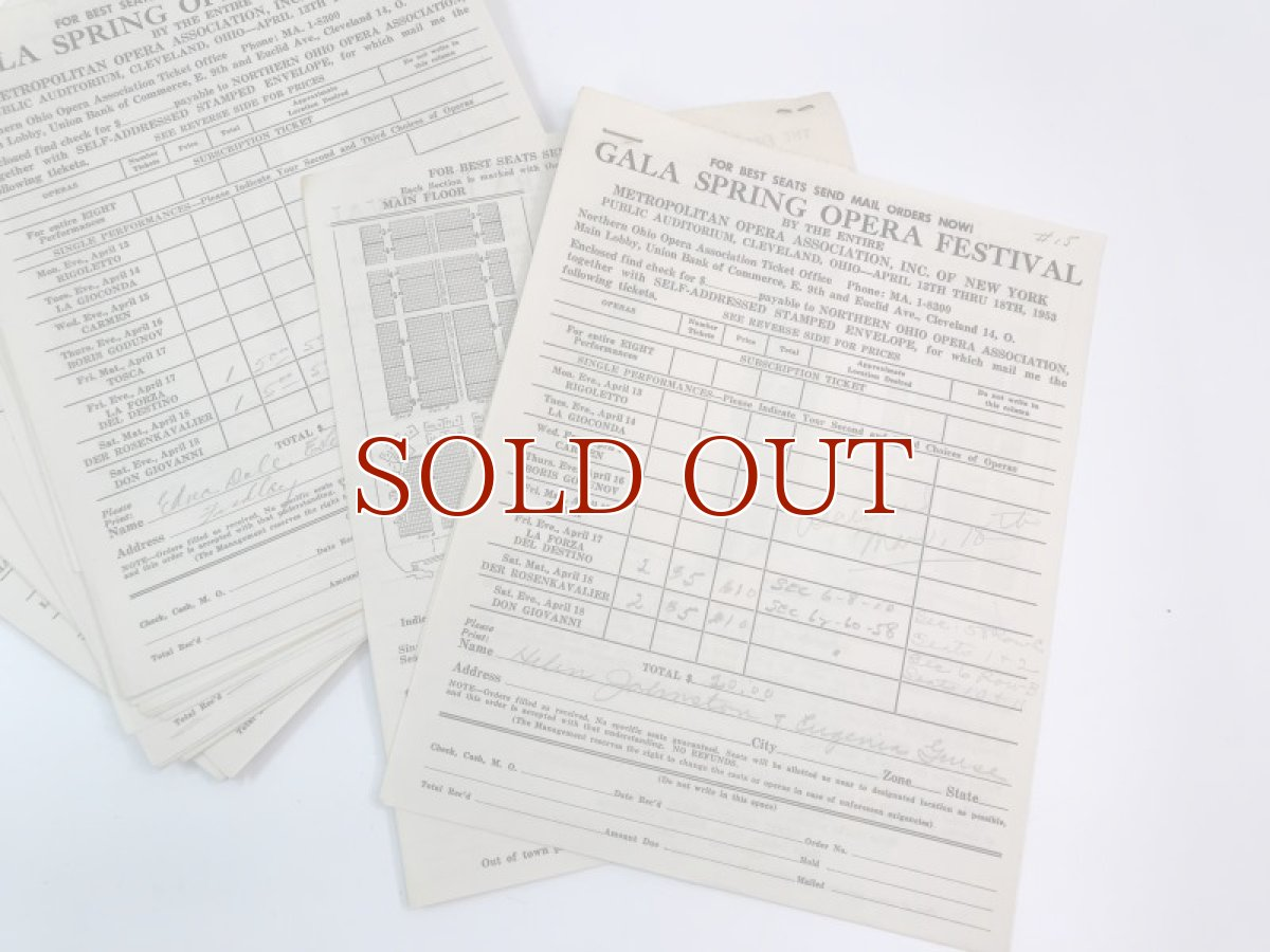 画像1: 1953年 GALA SPRING OPERA FESTIVAL チケットオーダーシート (1)