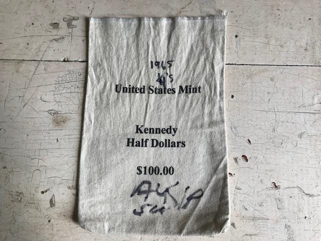 画像1: 布 袋  銀行 Bank bag (1)