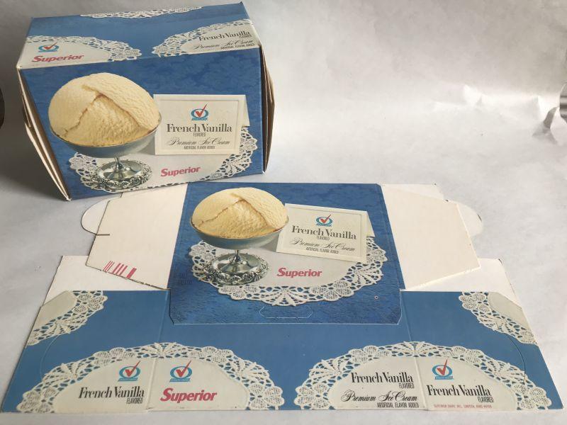 画像1: SUPERIOR French Vanilla  ICE CREAM BOX ロウ紙箱 (1)