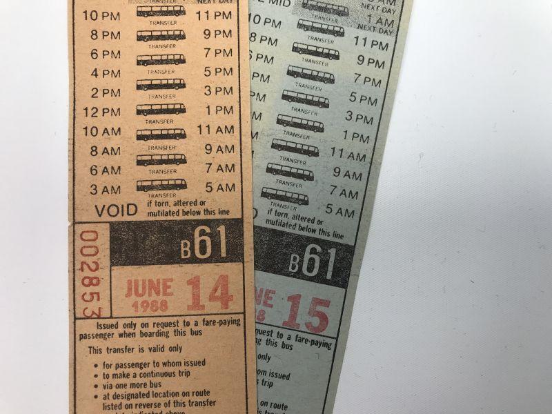 画像1: 1988年 N.Y TRANSFERチケット バスチケット 2枚セット (1)